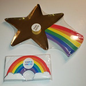 Rainbow, Star and Clouds Paper Plates & Napkins